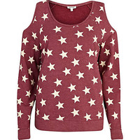 Red star print cold shoulder sweatshirt - sweaters / hoodies - t shirts / tanks / sweats - women