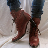 Lace Up Heeled Boots by inzoopsia on Etsy