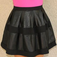Faux Leather Panel Skater Skirt
