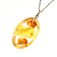 Vintage Flower Necklace -  1950s 1960s Mid Century Silver Tone Lucite Rose Jewelry - Yellow Blossom