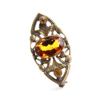 Antique Art Deco Citrine Yellow Stone Filigree Brooch - Vintage Marquise Filigree Great Gatsby Gold Tone Jewelry Pin / Leaf