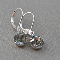 Black Diamond Swarovski Earrings, Silver-Tone Lever Back, Black Glass Birthstone Earrings