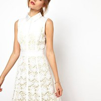 Karen Millen All Over Lace Dress with Shirt Collar at asos.com