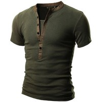 Doublju Men's Short Sleeve Henley Shirts in 2 Styles