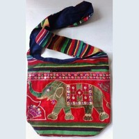 MG Decor Madhu's Collection Gypsy Recycled Patchwork Sling Cross Body Elephant Bag/Purse - More Colors