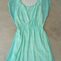 Adorable Mint Polka Dot Dress [4213] - $36.00 : Vintage Inspired Clothing & Affordable Summer Frocks, deloom | Modern. Vintage. Crafted.