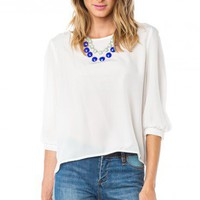 Hani Blouse in White - ShopSosie.com