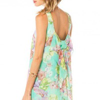 Coletta Bow Tank Shift in Mint Floral - ShopSosie.com