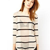 Warehouse Mesh Stripe Top at asos.com