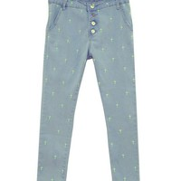 Retro Denim Jeans with Neon Cross Embroidery