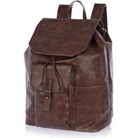 Brown aztec embossed print rucksack