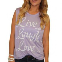 Lavender Cut Off Muscle Tee