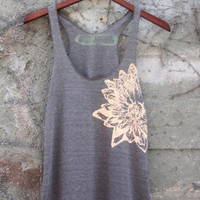 Cocoa and Nude Lotus Flower Tri Blend Tank Top