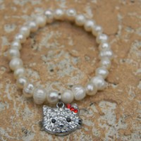 Freshwater Pearl Bracelet w/ Rhinestone Cat Kitty Charm Red Bow