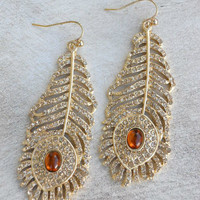 Golden Peacock Earrings [3926] - $21.00 : Vintage Inspired Clothing & Affordable Summer Frocks, deloom | Modern. Vintage. Crafted.