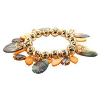 Bead Shell Dangle Stretch Bracelet - Peach/Gold