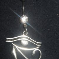 Handmade Egyptian Eye Of Horus Pierced 14 Gauge Belly Ring