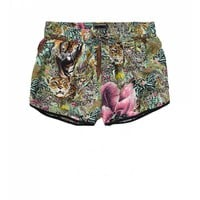 Tropical print silky shorts