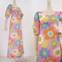 60s 70s Dress Psychedelic Empire Maxi Vintage Flower Power Hawaiian Long S