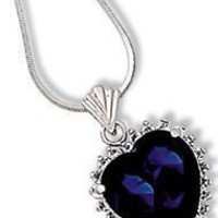 Sapphire Blue + CZ Cubic Zirconia Stunning Sterling Silver Heart Necklace - Heart of The Ocean - Titanic Pendant