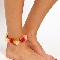 River Island Flower Garland Anklet at asos.com