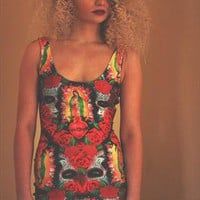 Bold Print red bodycon dress from OMG Rags