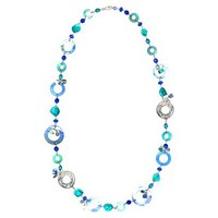 Shell Metal Long Necklace - Blue/Silver