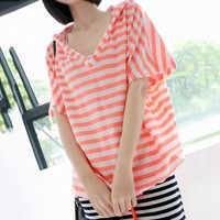 Sweet Color Stripe Lace-up Hooded Loose V-neck