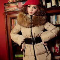beige down coat elegant big fur collar final sale g975 from YRB
