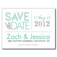 SAVE THE DATE | AQUA & GRAY POST CARD from Zazzle.com