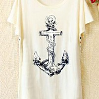 Sea Anchor Printed Short Sleeve  Irregular T-shirt