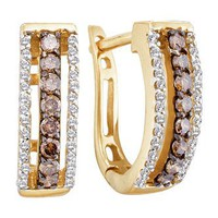 Amazon.com: Brown Chocolate Diamond Hoop Earrings 14k Yellow Gold Round (1/2 CTW): Jewel Roses: Jewelry