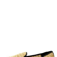 Promise Garron Black Faux Straw Smoking Slipper Flats