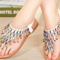 Colorful Rhinestone Bohemia Flat Sandals