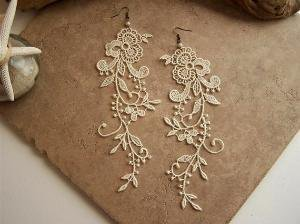 wisteria ivory lace floral earrings by StitchFromTheHeart on Etsy