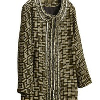 Amazon.com: Ulla Popken Plus Size Embellished Basketweave Patterned Jacket: Clothing