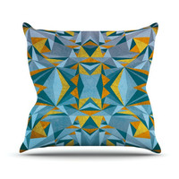 "Nika Martinez ""Abstraction Blue & Gold"" Throw Pillow 