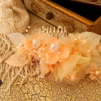 Peaches and Cream Wedding Hair Fascinator, bridal comb,bridal head piece, pearl accented, wedding hair piece