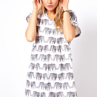 ASOS Smock Dress In Elephant Print
