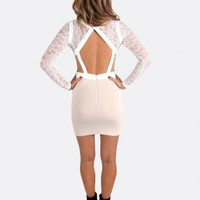 White Bodycon Dress with Lace Long Sleeves
