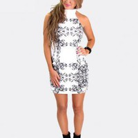 Black and White Contrast Print Bodycon Dress