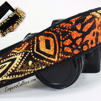 African Camera Strap w/ Pocket, Animal Print Tribal, dSLR, SLR