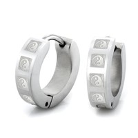 Mens Unique Man Earth and Heaven Stainless Steel Hoop Earrings Set Men Jewelry