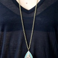 Natalie B Spiritual Harmony Teardrop Necklace in Brass