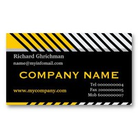 Modern stripes construction black, yellow, grey business card from Zazzle.com