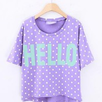 Vinosc Polka Dot Alphabet T-shirt Purple