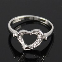 Silver heart ring with clear rhinestones