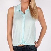 Living Doll Juniors Tie Front Button Down Tank at Von Maur
