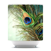 "Sylvia Cook ""Teal Peacock Feather"" Shower Curtain 