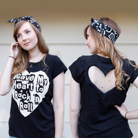 Black Rock N Roll Heart Cut out Shirt Made to order Upcycled Heart shirt  Back Cut Out Shirt from BglorifiedBoutique